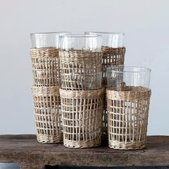 Seagrass Wrapped Drinking Glass Set of 2