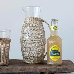 Seagrass Wrapped Glass Pitcher