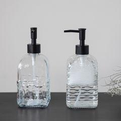 Simple Farmhouse Embossed Glass Soap Dispenser Set of 2