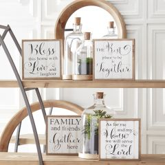 Simple Farmhouse Inspirational Wall Sign Set of 4