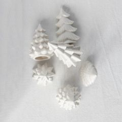 Simple Stoneware Tree Collection Boxed Set of 6