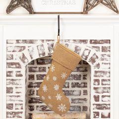 Snowflake Print Burlap Stocking