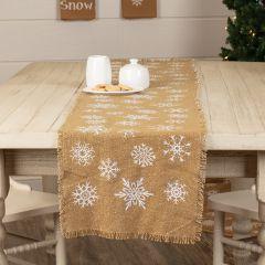 Snowflake Print Burlap Table Runner 72 inch