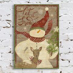 Snowman With Deer Wall Art