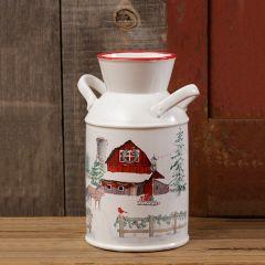 Snowy Barn Decorative Milk Can