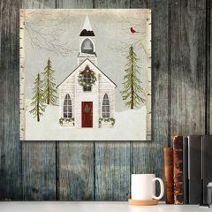 Snowy Church House Canvas Art