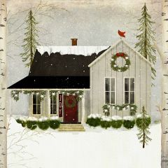 Snowy Cottage Holiday House Canvas Art