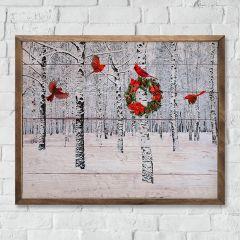 Snowy Forest Cardinals Wall Art