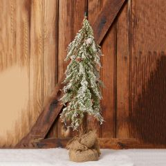 Snowy Tree with Burlap Wrapped Base 24 Inch