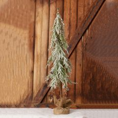 Snowy Tree with Burlap Wrapped Base 36 Inch