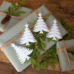 Sparkly White Christmas Tree Ornament Set of 4