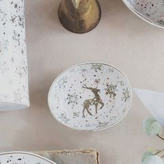 Speckled Stoneware Snowflake Bowl Set of 4