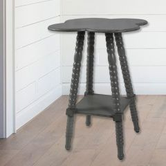 Spindle Leg Clover Shaped Accent Table