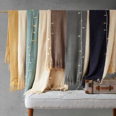 Stockholm Faux Cashmere Throw Taupe