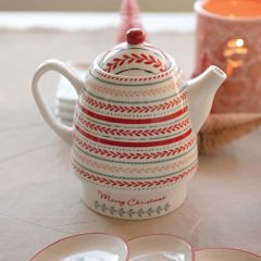 Stoneware Stackable Winter Teapot
