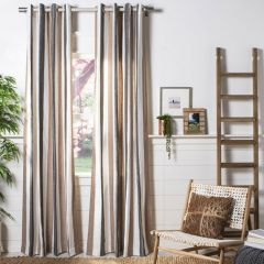 Striped Linen Curtain Panel, Set of 2