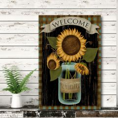 Sunflowers In Jar Wrapped Canvas Wall Art