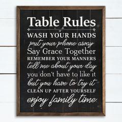 Table Rules Black Wall Art