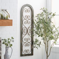 Tall Wood And Metal Scrollwork Wall Panel