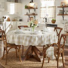 Tan and White Buffalo Check Farmhouse Tablecloth 70 Inch Round