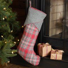 Tartan Plaid and Herringbone Christmas Stocking Set of 2
