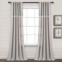 Tasseled Faux Linen Curtain Panel Set of 2