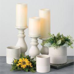 Terracotta Pillar Candle Holder Set of 3