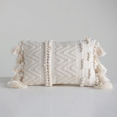 Textured Chevron And Stripe Lumbar Pillow With Tassels