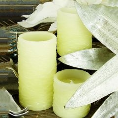 Textured LED Pillar Candle With Remote Set of 3