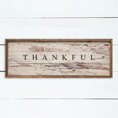 Thankful Whitewash Framed Sign