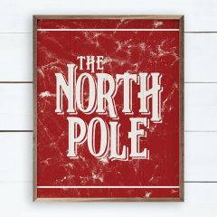 The North Pole Red Wood Wall Sign