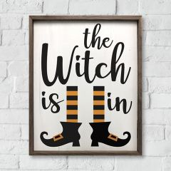 The Witch Is In Framed Halloween Sign