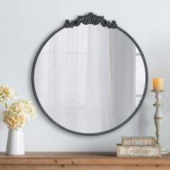 Timeless Ornate Black Round Mirror