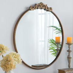Timeless Ornate Gold Round Mirror