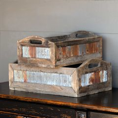 Tin Sided Reclaimed Wood Crate, Set of 2