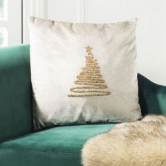 Tinsel Tree Modern Christmas Accent Pillow