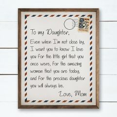 To My Daughter Framed Wall Decor