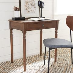 Traditional Dark Wood Desk With Drawer