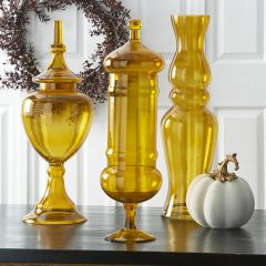 Translucent Amber Glass Lidded Compote 29 Inch