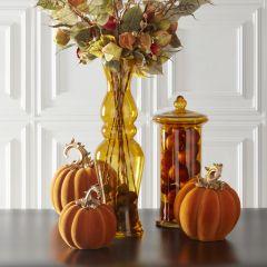 Translucent Amber Glass Vase 27 Inch