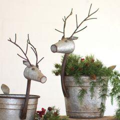 Unique Metal Deer Planter Set of 2