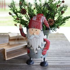 Upcycled Canister Santa Bucket
