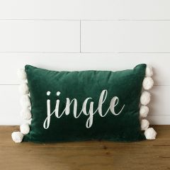 Velvet Jingle Pillow With Poms