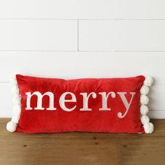 Velvet Merry Pillow With Poms