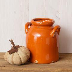 Vibrant Crackle Pottery Crock