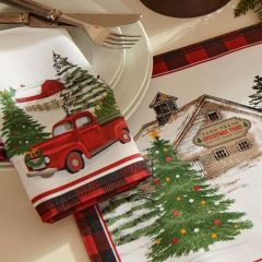 Vintage Holiday Tree Farm Napkin Set of 4