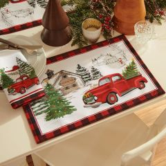 Vintage Holiday Tree Farm Placemat Set of 4