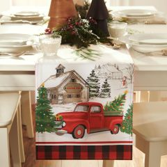 Vintage Holiday Tree Farm Table Runner 70 Inch
