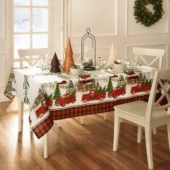 Vintage Holiday Tree Farm Tablecloth