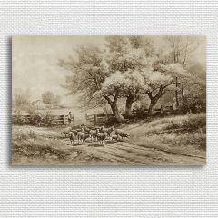 Vintage Inspired Farm Scene Canvas Wall Art